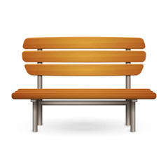 Empty wooden park bench with metal frame