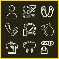 Set of 9 fashion outline icons