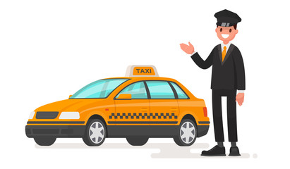 Taxi driver man with a car. Cab. Vector illustration