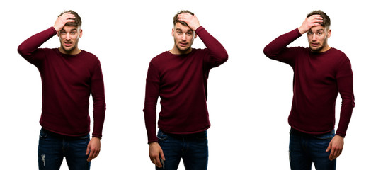 Handsome blond man terrified and nervous expressing anxiety and panic gesture, overwhelmed isolated over white background