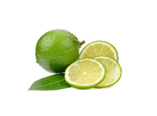Fresh lime on white background