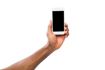 Hand holding mobile smartphone with blank screen