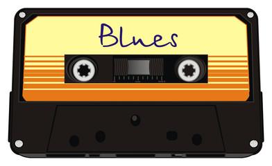 audio, cassette, audio cassette, music, retro, old, magnetic tape,  track, illustration, cartoon,  plastic, blues, word