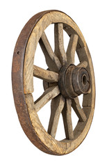 Rustic old wooden wagon wheel from behind