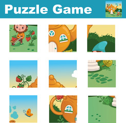 Puzzle for children featuring a cute gnome. Match pieces and complete the picture. Activity for preschool children.(Vector illustration)