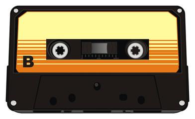 audio, cassette, audio cassette, music, retro, old, magnetic  track, illustration, cartoon, plastic, technology, side, side b