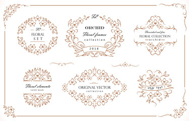 Set of flourish frames, borders, labels. Collection of original floral design elements. Vector calligraphy swirls, swashes, ornate motifs and corners.