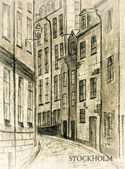 Sweden. Stockholm. An ancient city street (Gamla Stan) in the style of an old photo. City sketch.