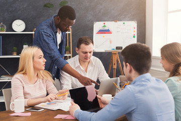 Company coworkers discussing ideas in office
