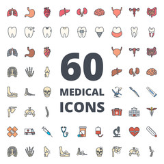 Medical medicine colored icon vector pack