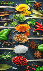 Canvas Prints Spices Various herbs and spices on dark background