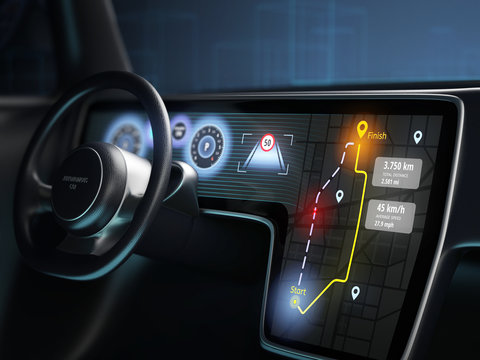 Digital dashboard of autonomous car, driverless car technology. 3D illustration.