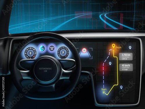 Digital dashboard of autonomous car, driverless car