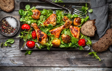 Spicy roasted chicken legs