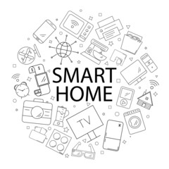 Vector smart home pattern with word. Smart home background