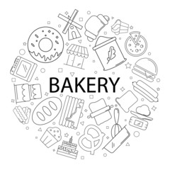 Vector bakery pattern with word. Bakery background