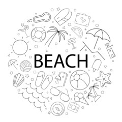 Vector beach pattern with word. Beach background