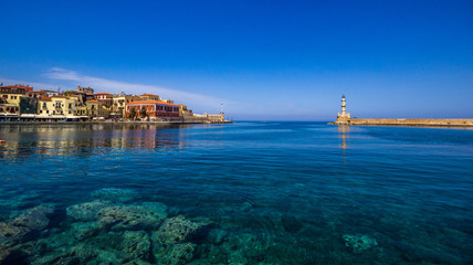View of the old port of Chania, Crete