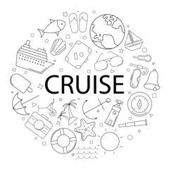 Vector cruise pattern with word. Cruise background