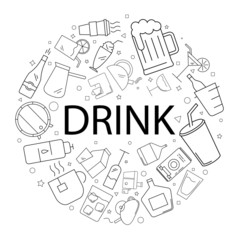 Vector drink pattern with word. Drink background