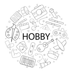 Vector hobby pattern with word. Hobby background