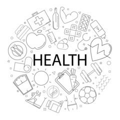 Vector health pattern with word. Health background