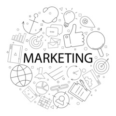 Vector marketing pattern with word. Marketing background