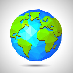 Low poly earth isolated on white vector