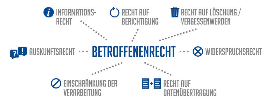 Infografik Betroffenenrecht DSGVO Blau