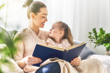 Mom and child reading a book