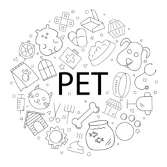 Vector pet pattern with word. Pet background