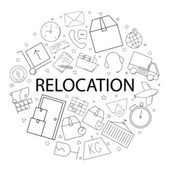 Vector relocation pattern with word. Relocation background