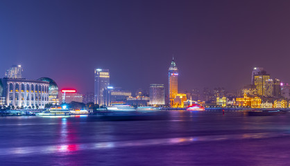 Nightscape of architectural landscape in the Bund, Shanghai