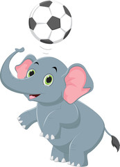 funny cartoon elephant playing ball
