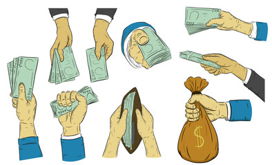 Business man hand to hold money on white background.