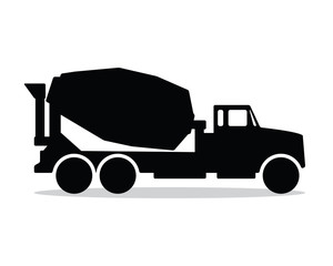 mixer truck silhouette design illustration, silhouette style design, designed for icon and animation