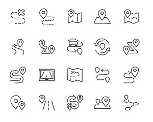 map and location hand drawn icon design illustration, line style icon, designed for app and web