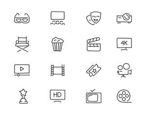 movie hand drawn icon design illustration, line style icon, designed for app and web