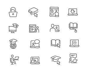 online education hand drawn icon design illustration, line style icon, designed for app and web