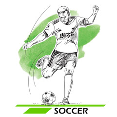 Soccer, football player illustration. Vector image isolated on white.
