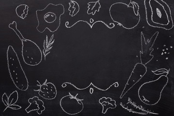 Food drawn with chalk on blackboard