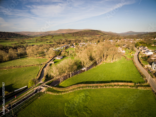 Welsh Canal Scene Aerial View Horizontal Drone Of An With