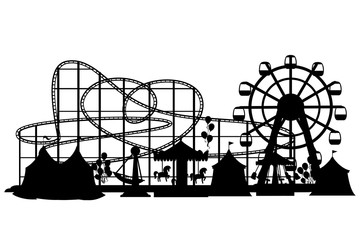 Black silhouette. Amusement park. Cartoon style design. Roller coaster, carousel, pirate ship and red tents. Vector illustration on white background. Web site page and mobile app design