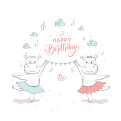 "Cute vector illustration with hippo baby for baby wear and invitation card with phrase ""Happy Birthday""."