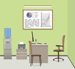 Office workspace organization. Business interior design with furniture and window. Workplace without employee.