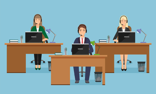 Web banner of call center with three woman employee on working places in office. Working situation with female staff.