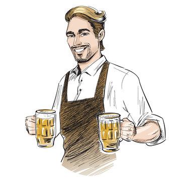 Smiling bartender holding beer.  Hand drawn vector illustration isolated on white.