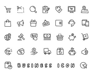 business hand drawn icon design illustration, line style icon, designed for app and web
