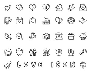 love hand drawn icon design illustration, line style icon, designed for app and web