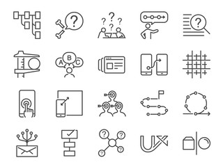 UX icon set. Included the icons as user experience, flow, prototype, agile, grid system, target, solution, procedure and more